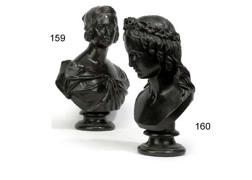 A VICTORIAN BRONZE BUST OF HEBE