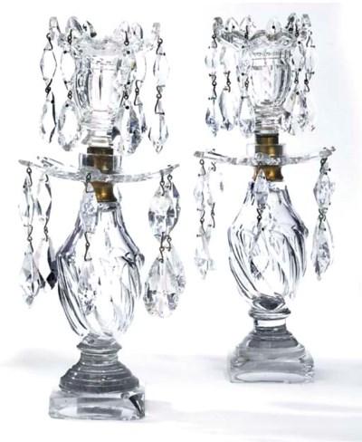 A PAIR OF ENGLISH CUT-GLASS LU