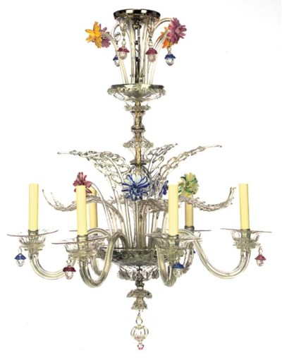 A VENETIAN GLASS SIX-LIGHT CHA