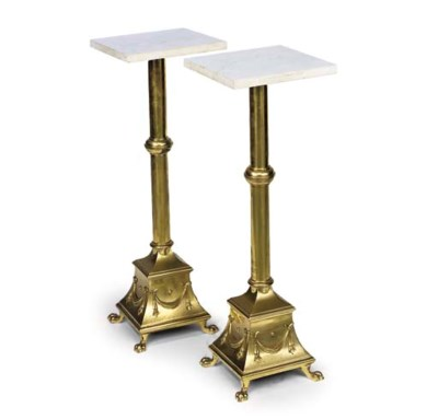 A PAIR OF LACQUERED BRASS STAN