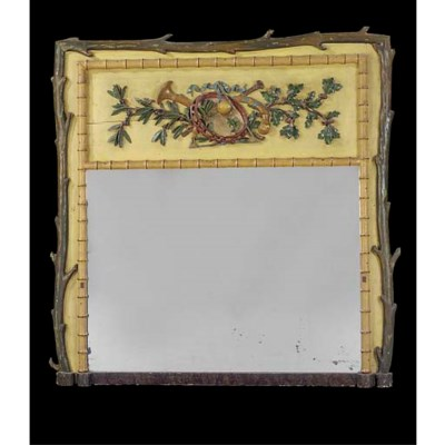 A PAINTED OVERMANTEL MIRROR