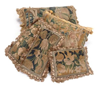 FIVE TAPESTRY FRAGMENT CUSHION