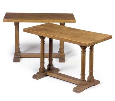 A PAIR OF OAK CENTRE TABLES