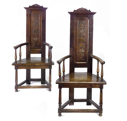 A PAIR OF OAK CAQUETEUSE CHAIR
