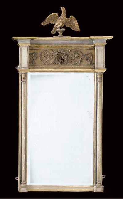 A REGENCY GREY PAINTED GILT CO