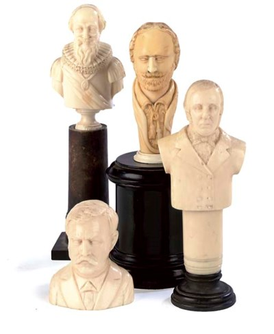 A COLLECTION OF IVORY BUSTS