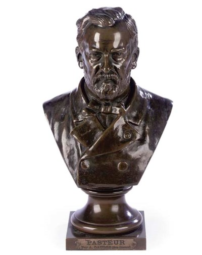 A BRONZE BUST OF LOUIS PASTEUR