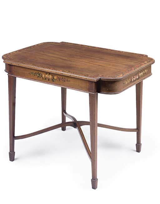 AN EDWARDIAN MAHOGANY SATINWOOD CROSSBANDED AND POLYCHROME DECORATED CENTRE TABLE