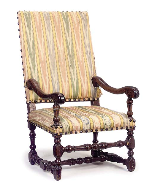 A FRENCH LOUIS XIV WALNUT ARMC