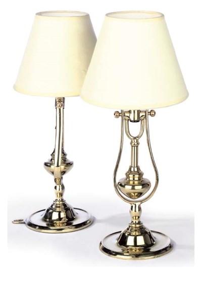 A PAIR OF BRASS GIMBAL LAMPS