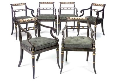 A SET OF SIX REGENCY PAINTED A