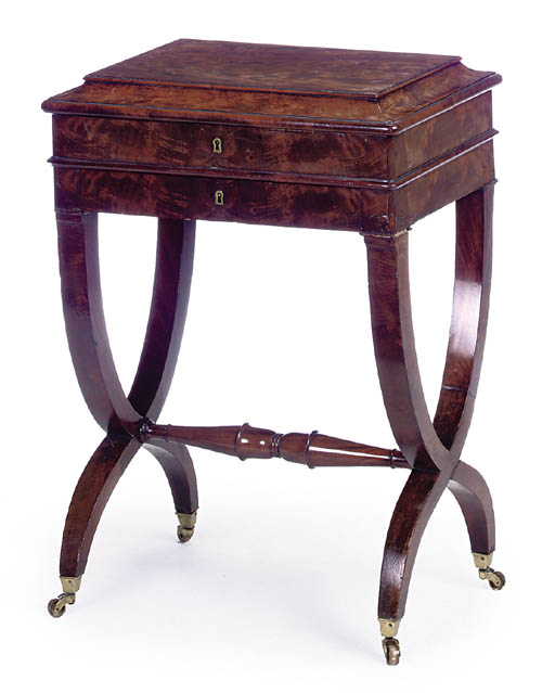A FRENCH MAHOGANY WORK TABLE