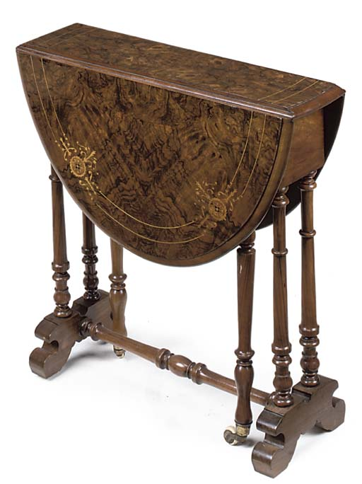 A LATE VICTORIAN WALNUT AND IN
