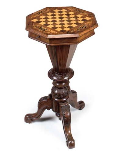 A LATE VICTORIAN WALNUT WORK/G