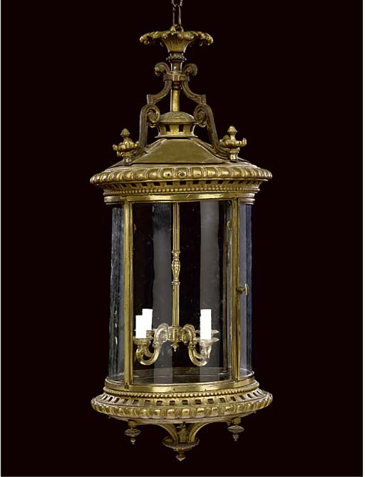 A GILT CAST-IRON AND BRASS HAL