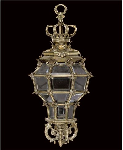A BRASS AND GLASS HALL LANTERN