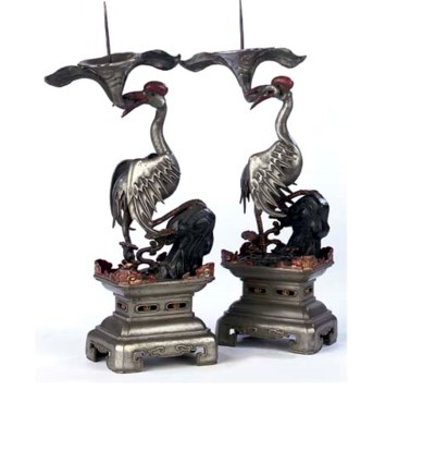 A PAIR OF CHINESE EXPORT PEWTE