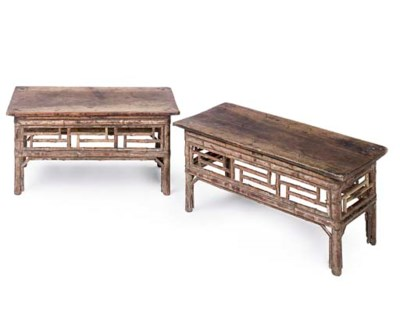 A PAIR OF SMALL BAMBOO LOW TAB