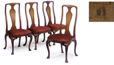 A SET OF FOUR QUEEN ANNE WALNU