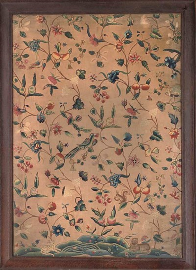 A LARGE CREWELWORK PANEL