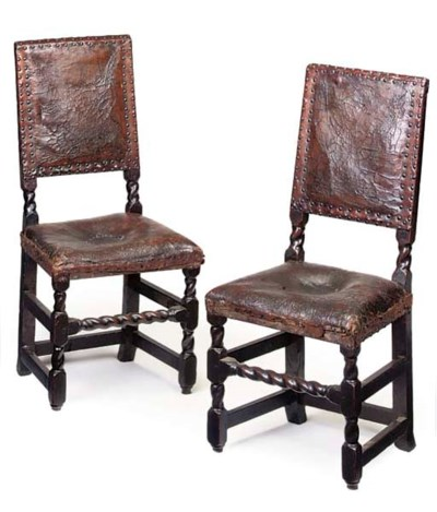 A PAIR OF ENGLISH LEATHER UPHO