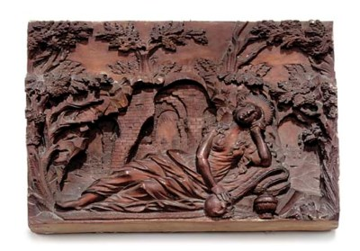 A SOUTH GERMAN WOOD BAS-RELIEF