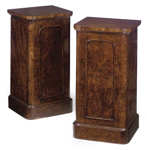 A PAIR OF WALNUT AND BURR WALN