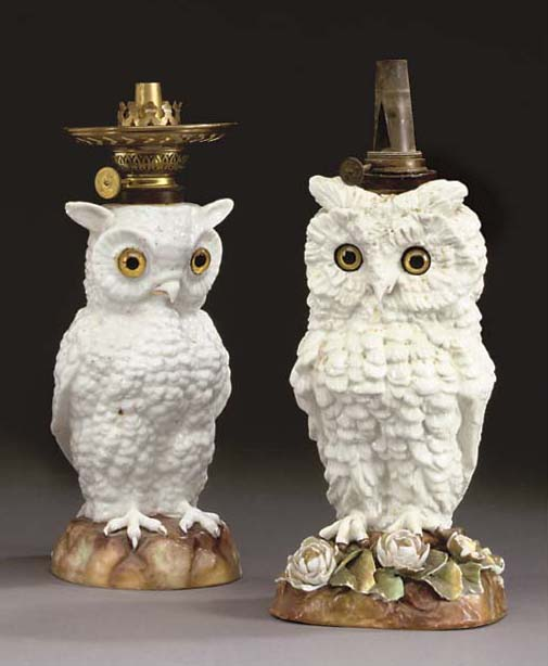 TWO LATE VICTORIAN CERAMIC OWL