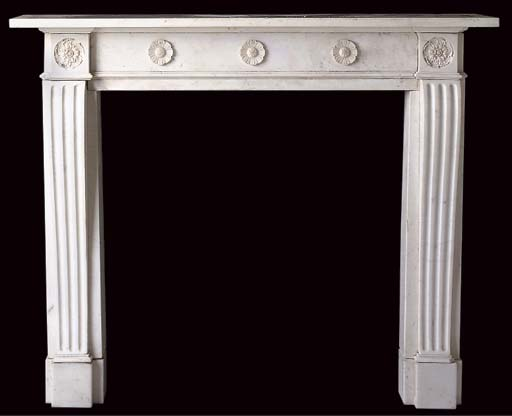 A WHITE STATUARY MARBLE CHIMNE