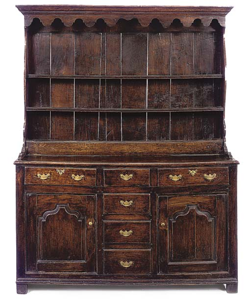 AN ENGLISH ELM AND OAK DRESSER