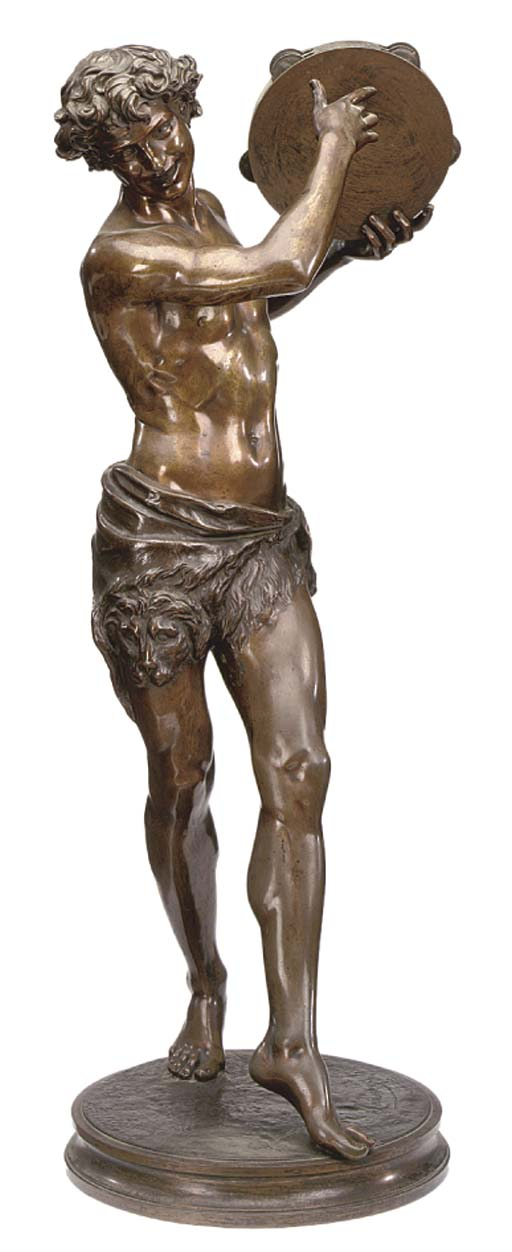 A FRENCH BRONZE BACCHIC FIGURE