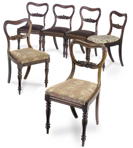 A SET OF SIX VICTORIAN ROSEWOO