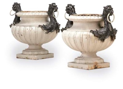A PAIR OF FRENCH PAINTED CAST-