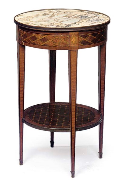 A FRENCH MAHOGANY AND PARQUETR