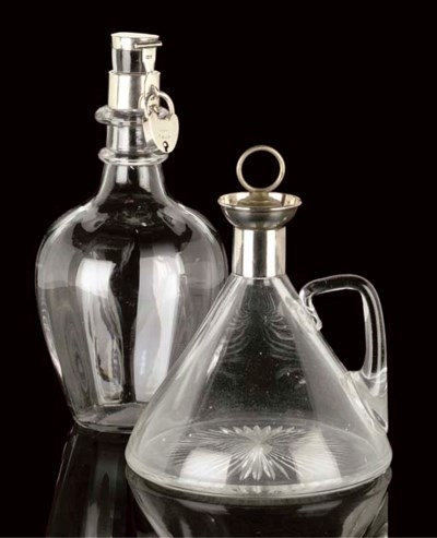 TWO SILVER MOUNTED GLASS DECAN