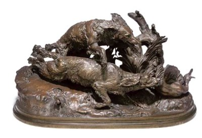 A FRENCH BRONZE GROUP OF TWO S