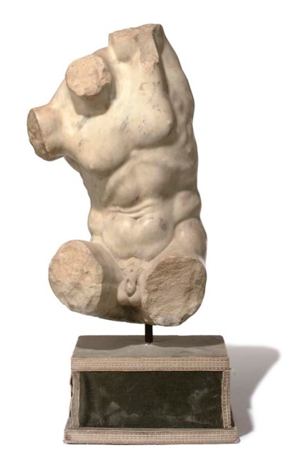 A SCULPTED WHITE MARBLE TORSO