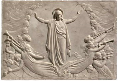 A MARBLE RELIEF-CARVED PLAQUE