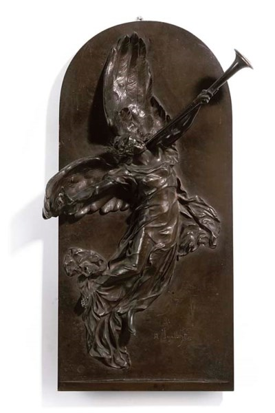 A FRENCH BRONZE HIGH RELIEF PL