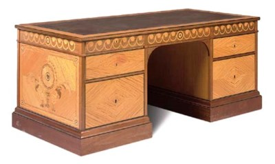 A SATINWOOD AND MARQUETRY KNEE