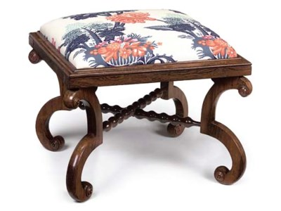 A WILLIAM IV ROSEWOOD STOOL