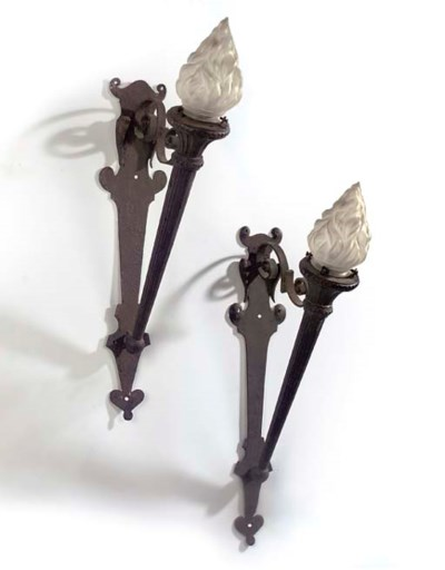 A PAIR OF VICTORIAN WROUGHT AN