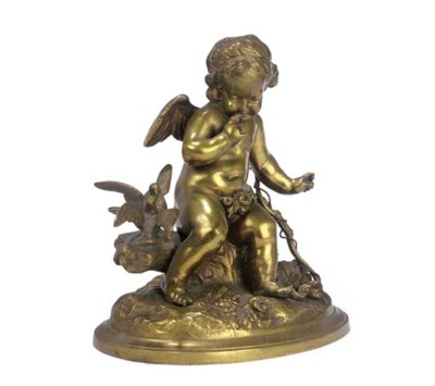 A FRENCH BRONZE MODEL OF CUPID