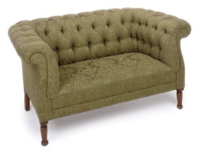 A SMALL STAINED BEECH SOFA