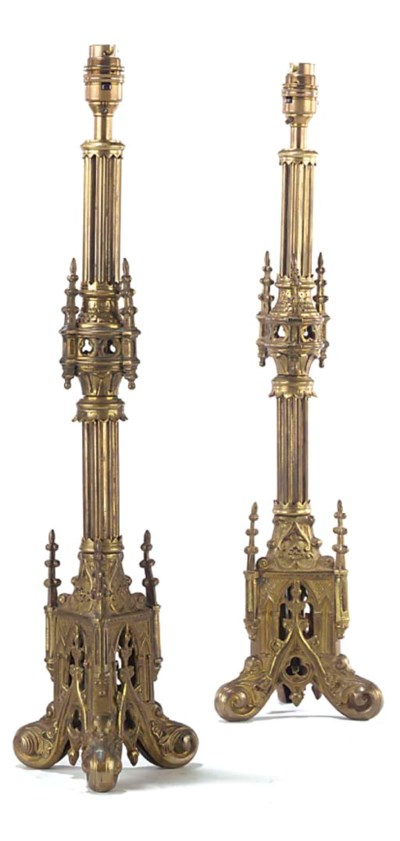 A PAIR OF FRENCH GILT BRASS GO