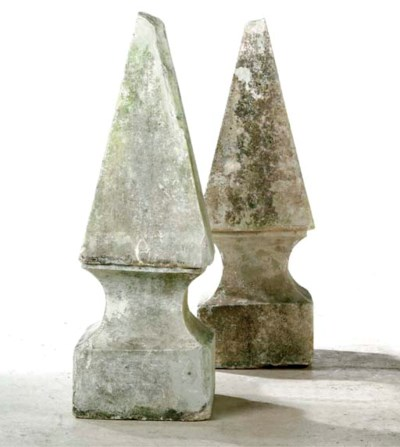 A PAIR OF CAEN STONE FINIALS