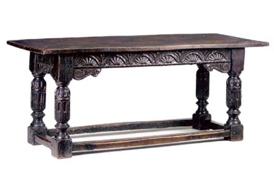AN OAK REFECTORY TABLE