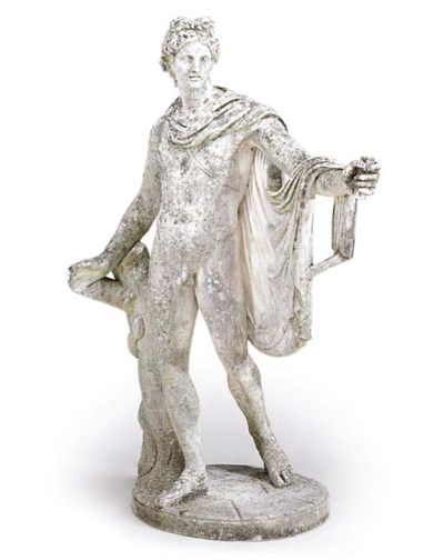 AN ARTIFICAL STONE FIGURE OF T