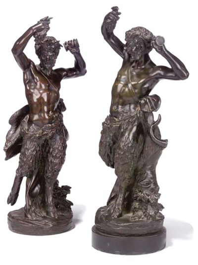 TWO FRENCH BRONZE SATYRS