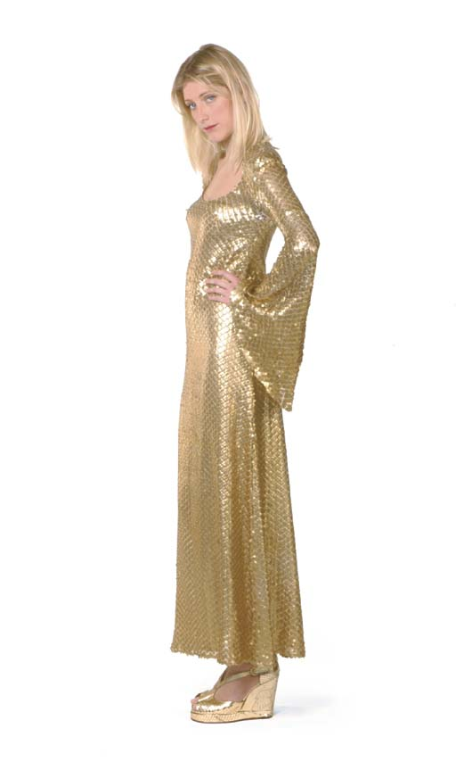 A GOLD SEQUINNED DRESS